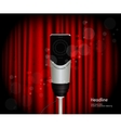 Microphone against curtain backdrop vector image