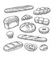 Set bread black vintage engraving vector image
