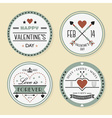 Valentines day and romantic retro badges set vector image