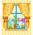 window with flower pots vector image