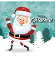 cheerful santa claus merry christmas white tree vector image