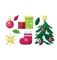 Set of Winter Holiday Attributes vector image