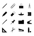 set of black stationery icons vector image