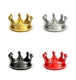 Multicolored crowns set vector image vector image