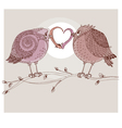 hand drawn of two romantic bird vector image