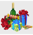 Gift boxes bottle of wine and candy festive set vector image