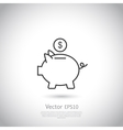 Piggy bank and dollar coin icon vector image