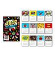 calendar 2017 in cartoon 80s-90s comic style vector image