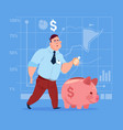 business man put coin piggy bank money investment vector image