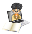 A business icon inside the laptop screen with an vector image vector image
