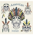 Indians set skulls with different headdresses vector image