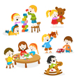 Kids Playing With Toys vector image vector image