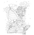 Hand drawn doodle outline boat boho vector image