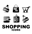 Black glossy shopping icon set vector image