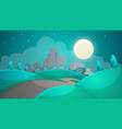 cartoon night landscape city moon tree road vector image