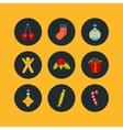 Christmas icon set of nine flat style vector image