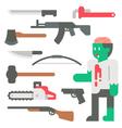Flat design zombie apocalypse item set vector image