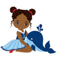 little african american girl with whale vector image