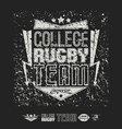 Rugby emblem bright print and design elements vector image
