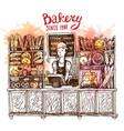 hand drawn sketch interior of bakery shop vector image