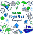 colored hand drawn business logistic concept vector image