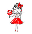 cute young girl with flowers on white background vector image