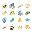 lottery isometric icons set vector image