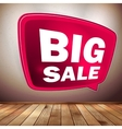 Red big sale speech bubble on wood floor EPS 10 vector image
