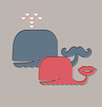 Two cute whales vector image