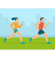 man and woman running marathon vector image vector image