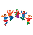 Group of jumping children boys and girls vector image