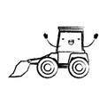 bulldozer flat icon monochrome cartoon blurred vector image