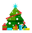christmas tree with decorations and different vector image