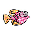 Color pencil drawing of small fish with big eyes vector image
