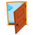 Wooden door being opened vector image