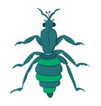 blue striped beetle with long paws and a rattle vector image