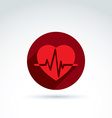 a red heart symbol with an ecg placed in vector image