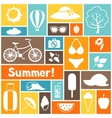 Background with stylized summer objects Design vector image