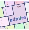admire word on computer keyboard keys vector image