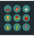 Christmas icon set of nine flat style vector image