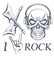 Earphone skull with crossed guitars vector image