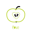 Green apple with heart shape Love card vector image