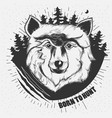 hand-drawn of a wolf head vector image