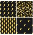 Yellow lightnings black seamless patterns vector image