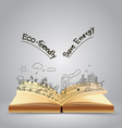 Ecology friendly creative concept drawing on book vector image