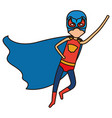 colorful silhouette with faceless superhero boy vector image