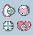 set drop blood donation symbol vector image