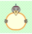 Crow holding banner card in paws Birthday vector image