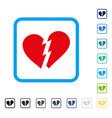 broken heart framed icon vector image