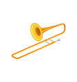 large golden trumpet trombone brass musical vector image